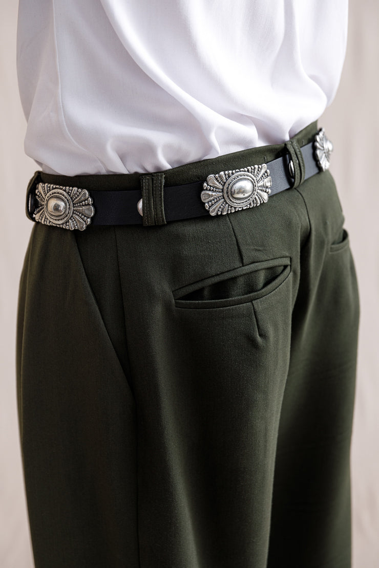 Individual Small change leather belt black