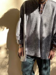 Madre poncho grey fishbone