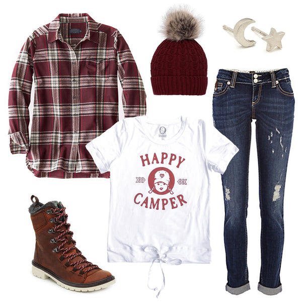 women's camping outfit ideas happy camper t-shirt