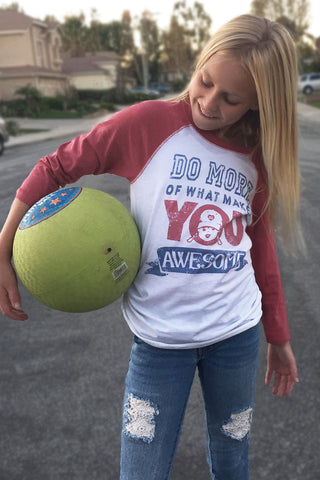 Girl's Do More Awesome Baseball Tee