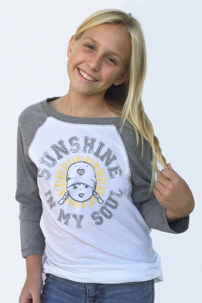 Girl's Sunshine In My Soul Baseball Tee