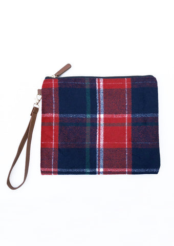Red Plaid Clutch Zipper Pouch