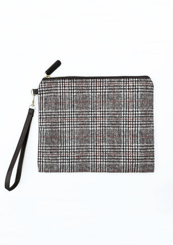Black Tartan Plaid Zipper Pouch