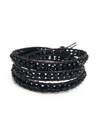 Black Bead Wrap Bracelet