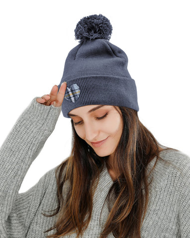 Blue Plaid Heart Embroidered Beanie Hat