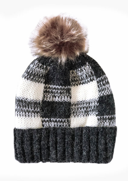 Plaid beanie black pompom beanie