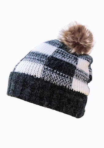 womens back white buffalo check beanie