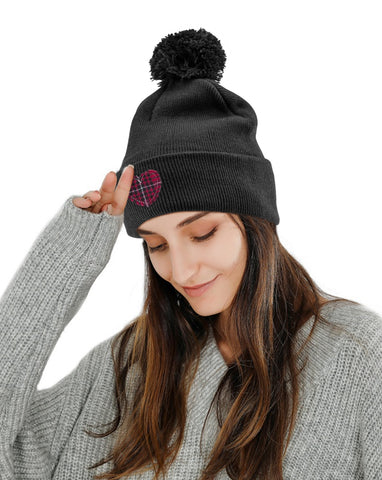 red plaid heart embroidered beanie hat