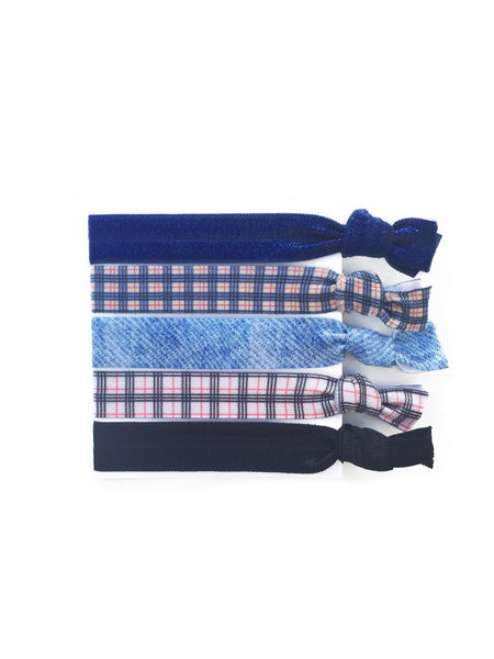 Elastic Hair Ties - Denim & Plaid