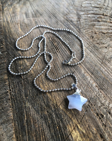 Blue Lace Agate Star Necklace
