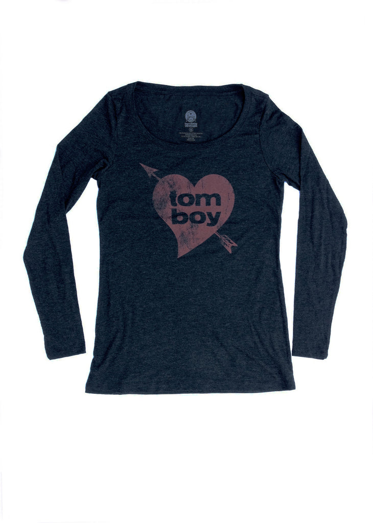 Tomboy Vintage Heart Shirt Black Long Sleeve Tee Shirt