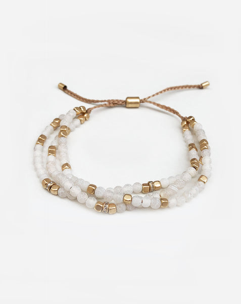 White Bead Adjustable Bracelet