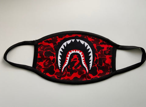 Bape Shark Camo Red Mask