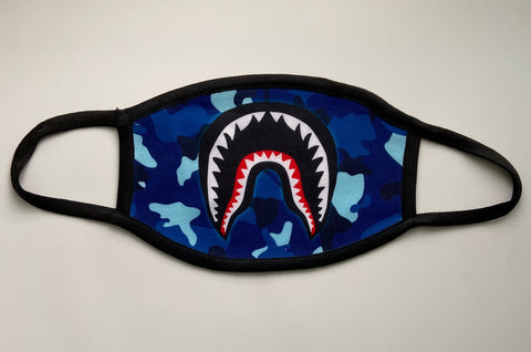 Blue Camo Shark Teeth Mask