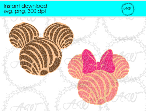Mickey and Minnie Mouse Mexican Conchas Instant Download