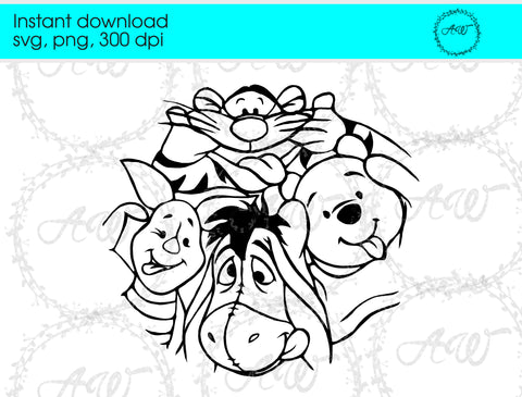 Winnie the Pooh and Friends SVG cut file