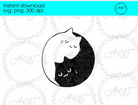 Ying and Yang Cats Instant Download