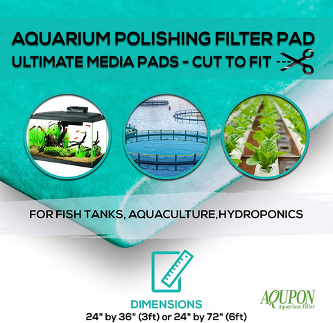 "AQUPON Aquarium Polishing Filter Pad 50 Micron - Ultimate Media Pads - Cut to Fit 24"" by 36"" - for Fish Tanks, Aquaculture, Hydroponics - USA Manufacturer"