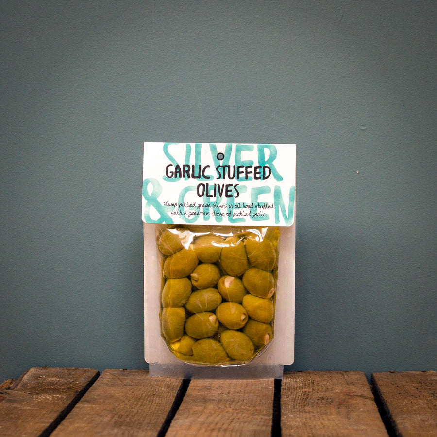 Silver & Green Garlic Stuffed Olives 220g
