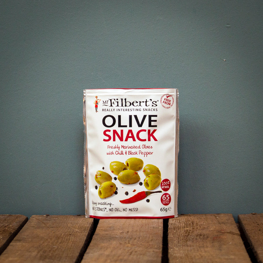 Mr Filbert's Chilli & Black Pepper Olives 65g