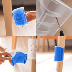 How to install the Corner Brush in 4 images: first image, a wooden chair feet is chosen to install the corner crush; second image, the base of the brush is sealed to the chair feet with the screws; third image, catnip is added to the brush; fourth image, the Corner Brush is stuck to the chair feet.