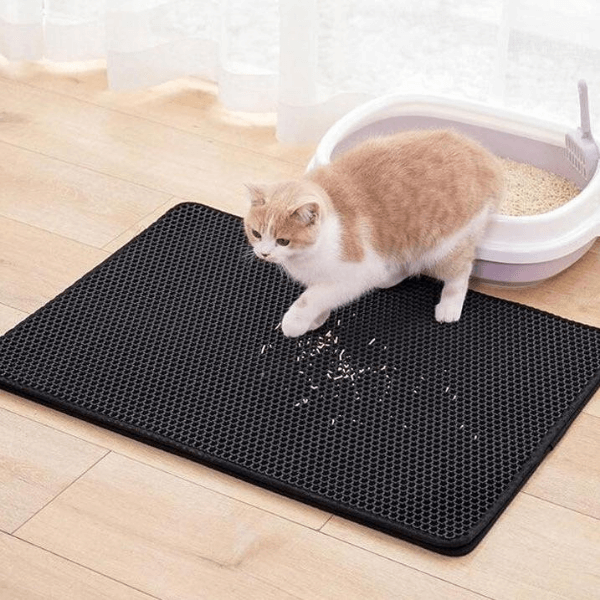 A beautiful cat coming out from the litter box with his front paws and some litter on the litter mat.