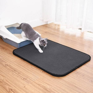 A beautiful gray cat coming out from the litter box with his front paws and some litter on the litter mat.