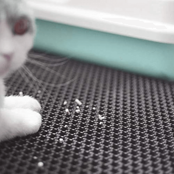 Details of the Cat Litter Mat holes: the litter is easily captured form the holes.