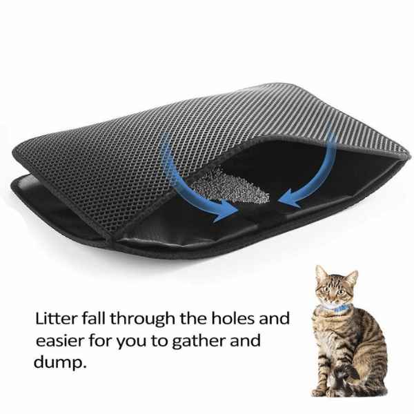 Dual layer structure of the Litter Mat: the upper layer holes capture the litter and trap it in the double layer of the mat.