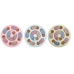 Three Dog Puzzle Feeder in circle shape, one in green, one in blue and one in pink. Each feeder has 7 compartments where treats can be hid.