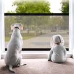 A white dog and a baby in front of the indoor fence installed on a window looking outside. Both cannot go through the window because of the dog fence.