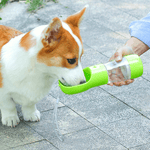 A Corgi dog drinking from the Portable dog bottle for water and food