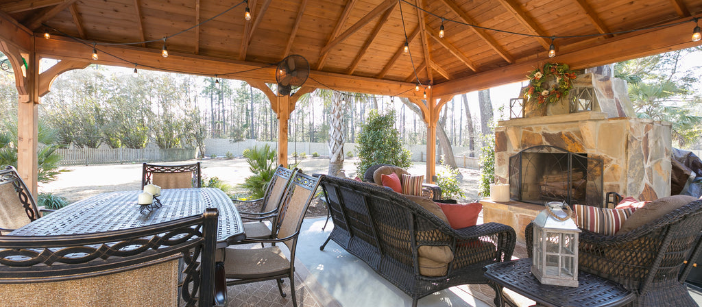 Outdoor room - pergola, outdoor dining, outdoor fireplace, wicker seating