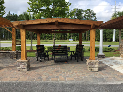wood pergola with recycled poly furniture