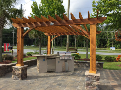 Wood pergola with outdoor kitchen