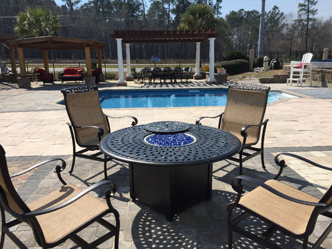 Gas fire pit chat set and radiant pool on display