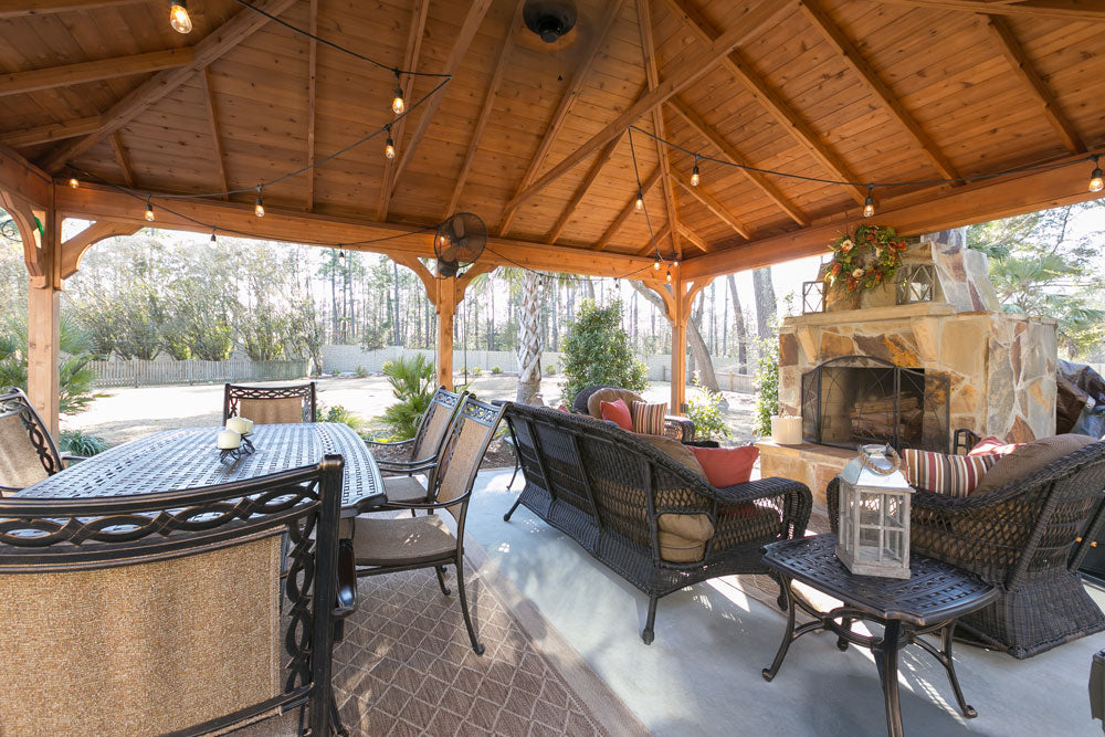 outdoor room with pergola and fireplace