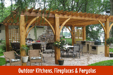Outdoor kitchen, fireplace and pergola collection