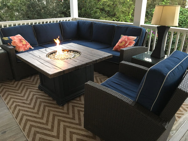 Cabo wicker furniture with Romance fire pit