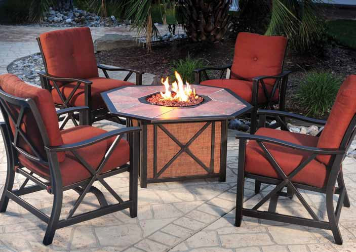Haywood fire pit chat table
