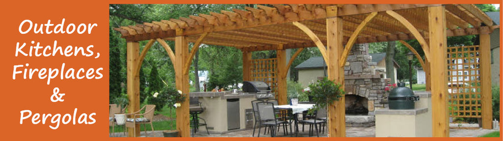 outdoor kitchens, pergolas and fireplaces banner