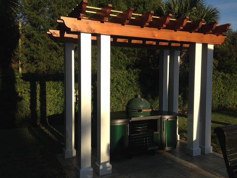 pergola with Big Green Egg cooking island