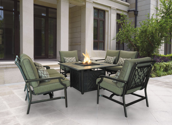 gas fire pit chat set with cushioned chairs