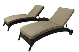 3 Piece Chaise Lounge Set w/ Cushions
