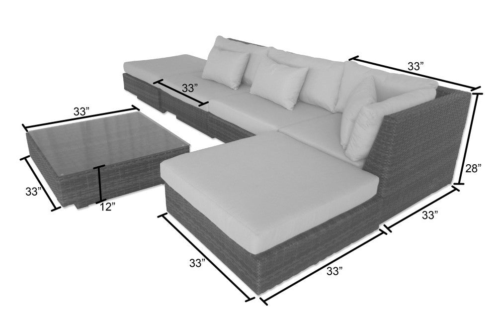 Monte Carlo 6 Piece Sectional Sofa Set - Terracotta  sc 1 st  Leisure Depot : 6 piece sectional couch - Sectionals, Sofas & Couches