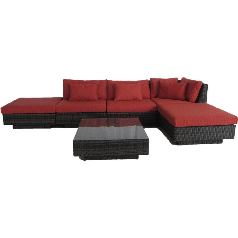 Monte Carlo 6 Piece Sectional Sofa Set - Terracotta