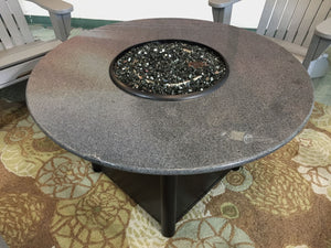 "42"" Round Indonesian Black Granite Gas Fire Pit"