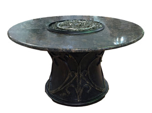"42"" Round Brown Granite Gas Fire Pit"