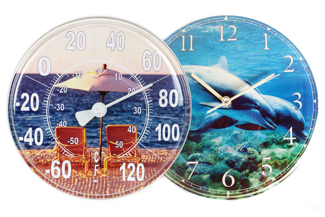 OUTDOOR WALL CLOCK/THERMOMETER COMBO PACK