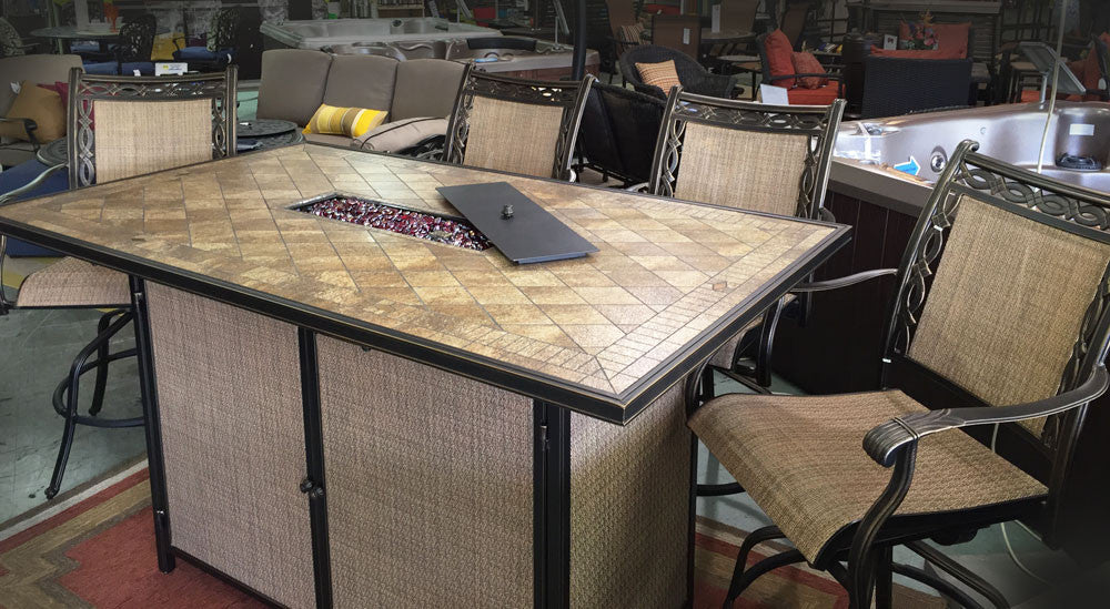 Ordinaire Athens Bar Height Fire Table Set